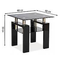 Квадратный журнальный столик из стекла Signal Lisa D 60x60x55см с полкой на черных лакированных ножках