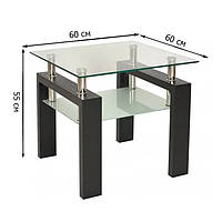 Квадратный журнальный столик из стекла Signal Lisa D 60x60x55см с дополнительной полкой на ножках цвета венге