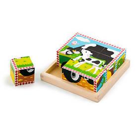 Дерев'яні кубики-пазл Viga Toys Ферма (59789)