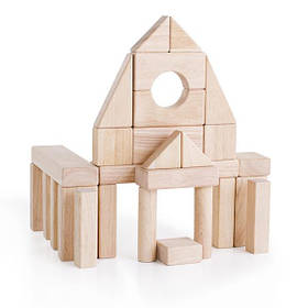 Дерев'яні кубики Guidecraft Unit Blocks з незабарвленого дерева Геометричні форми, 28 шт. (G2101B)