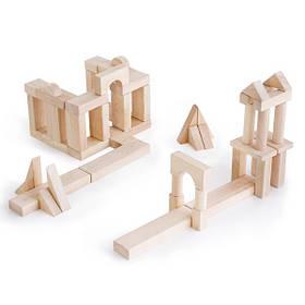 Дерев'яні кубики Guidecraft Unit Blocks з незабарвленого дерева Геометричні форми, 56 шт. (G2111B)