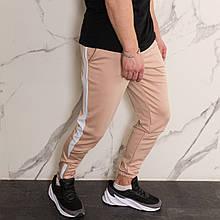 Мужские спортивные штаны бежевые с лампасами от бренда ТУР модель Рокки (Rocky) S