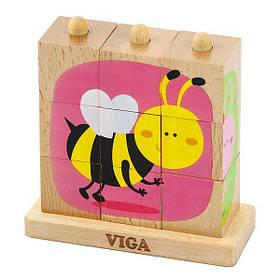 Дерев'яні кубики-пірамідка Viga Toys Комахи (50158)