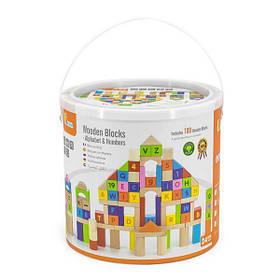 Дерев'яні кубики Viga Toys Алфавіт і числа 100 шт., 3 см (50288)