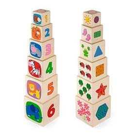 Дерев'яні кубики-пірамідка Viga Toys з цифрами (50392)