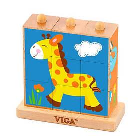 Дерев'яні кубики-пірамідка Viga Toys Звірята (50834)