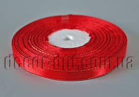 Лента атласная с люрексом красная 1,0 см 36ярд 26