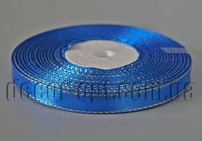 Лента атласная с зол.люрексом синяя 1,0 см 36ярд 40