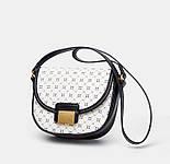 Сумка-седло  Zara на плечо черно-белая с геометрическим рисунком, фото 3