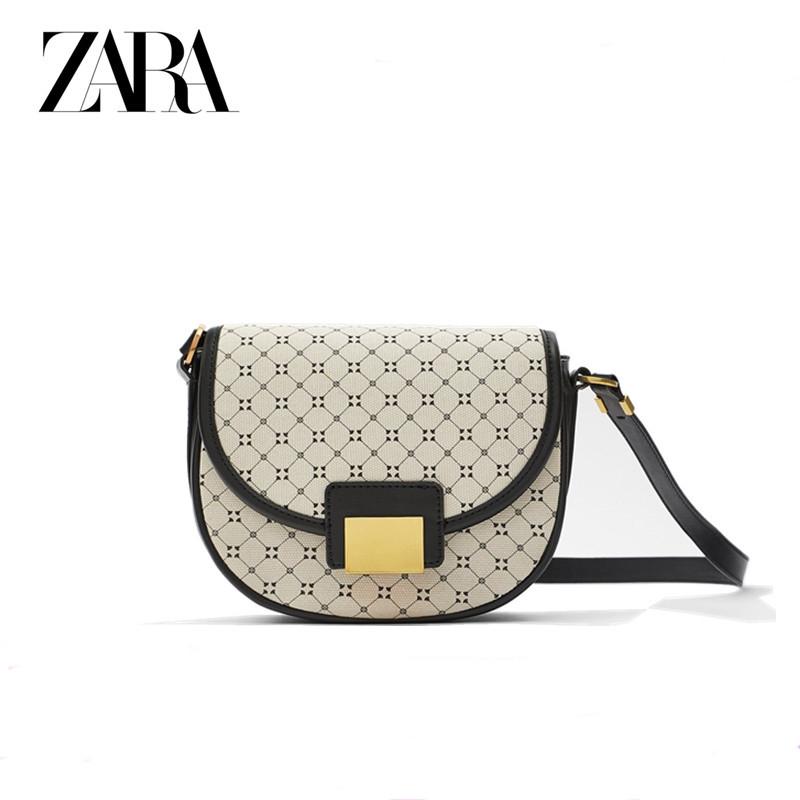 Сумка-седло  Zara на плечо черно-белая с геометрическим рисунком