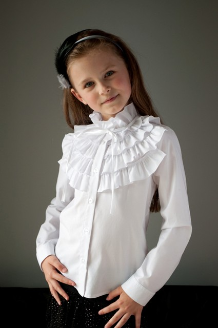 Школьная нарядная блузка мод.2093 белая 140