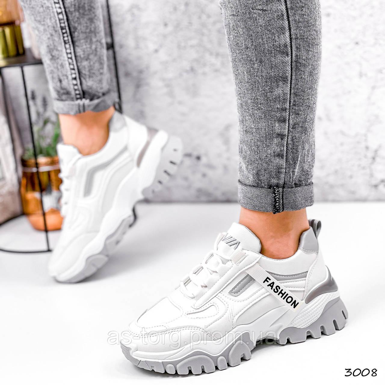 Кроссовки женские Ordo белые + серые 3008
