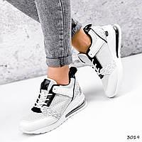 Кроссовки женские Nela белый + черный + серый + серебро 3019