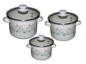 Набір емальованого посуду Idilia Еліка молочний 3 предмета 2л/3л/5,5 л (№752)