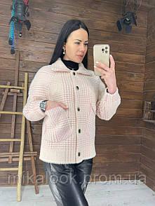 Женское короткое пальто в рубашечном стиле из мериносовой шерсти альпака