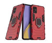 Чехол силікон протиударний з кільцем під магнітний тримач Samsung A515, A51 2020 червоний