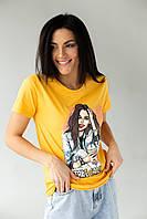 Футболка з принтом і блискучими прикрасами LSK - жовтий колір, M (є розміри), фото 1