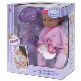 Пупс кукла 42 см Warm Baby 13 функций интерактивный со звуками на батарейках с аксессуарами для девочки (523)