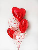 """Готовый набор шаров с гелием  №18 """"Сердечки"""""""