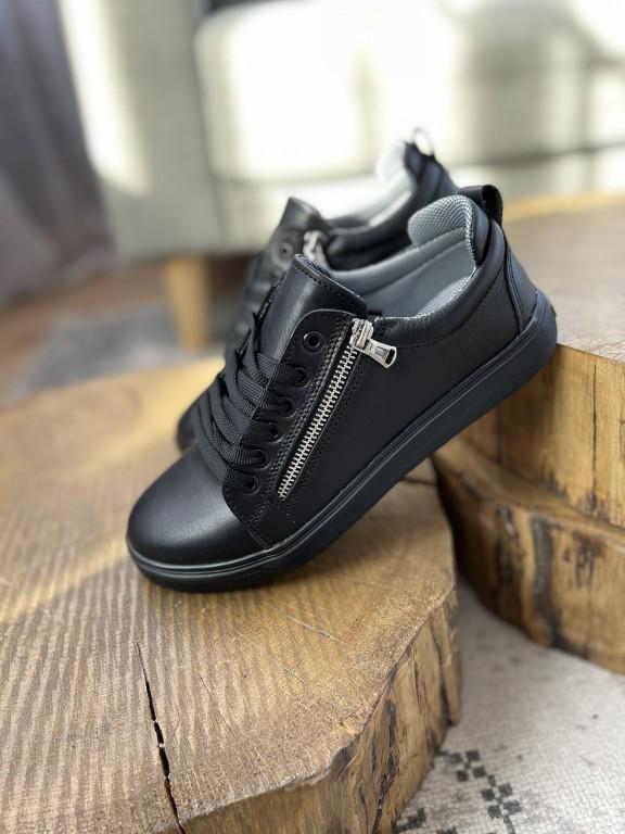 Подростковые кеды кожаные весна/осень черные Emirro 21-04 Black Edition