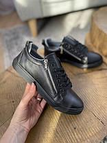 Подростковые кеды кожаные весна/осень черные Emirro 21-04 Black Edition, фото 3