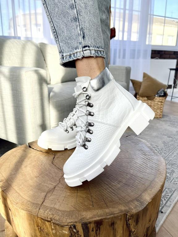 Женские ботинки кожаные весна/осень белые Vankristi 010 Байка