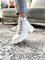 Женские ботинки кожаные весна/осень белые Vankristi 010 Байка, фото 2