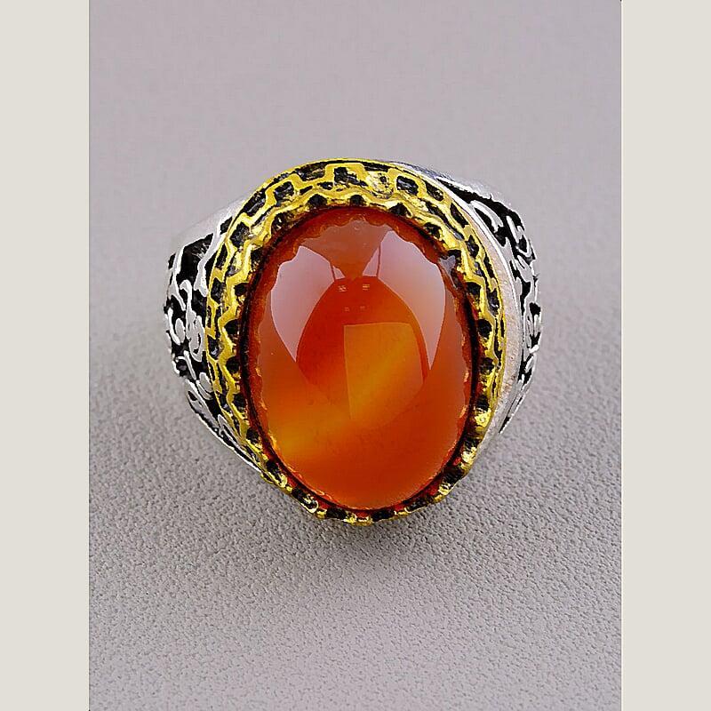 Кольцо на палец  Сердолик  (Бижутерный сплав)