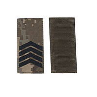 Старший сержант, военный / армейский погон на липучке, шеврон ВСУ, черный цвет на пикселе. 5 см * 10 см
