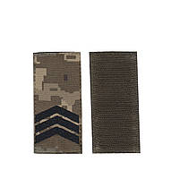 Сержант, військовий / армійський погон на липучці, шеврон ЗСУ, чорний колір на пікселі. 5 см х 10 см