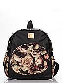 Товар з дефектом!, Чорний міський рюкзак з шипами Квіти
