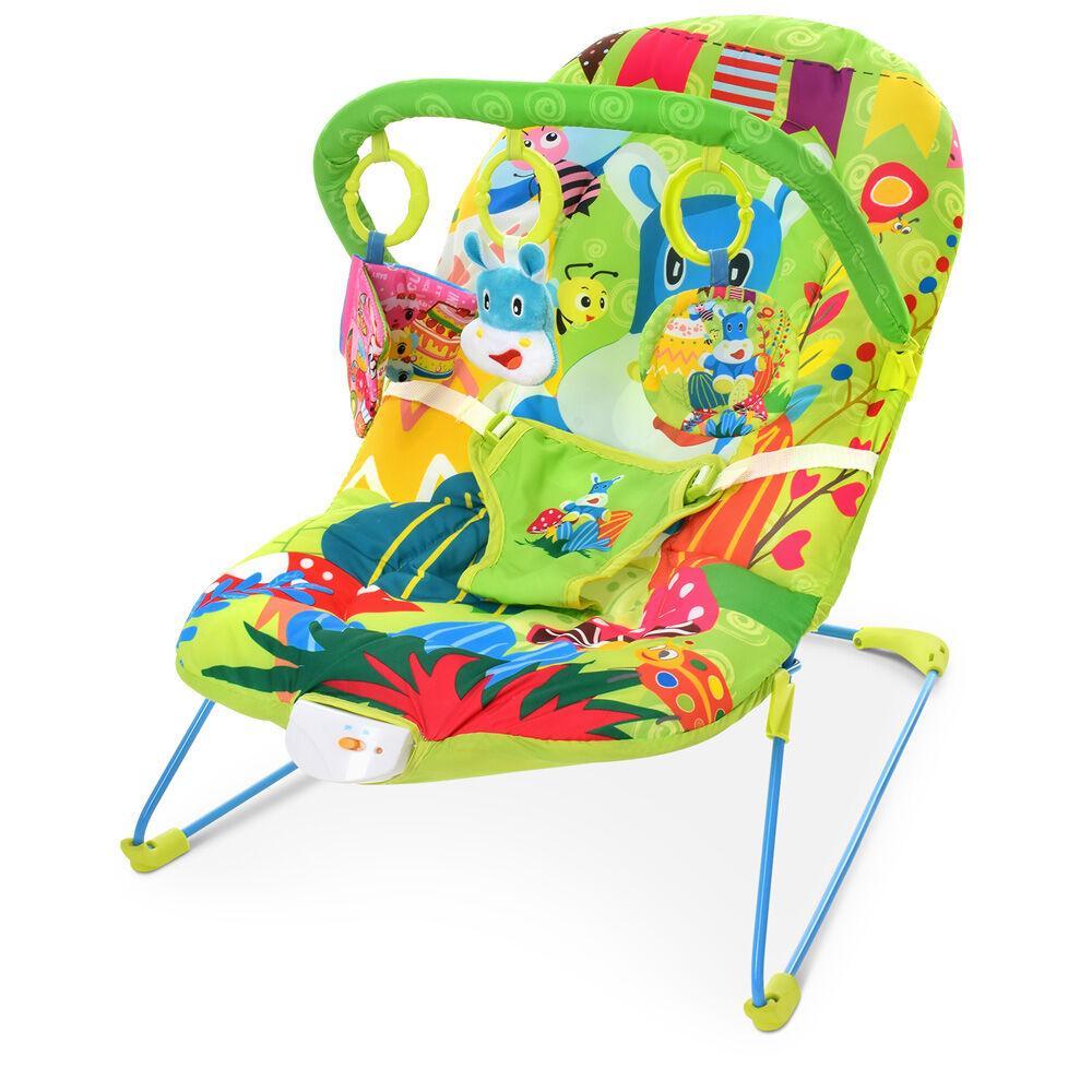 Дитячий шезлонг-гойдалка з підвісками, музикою і вібрацією для дитини з народження 303-5, колір зелений