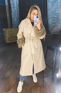 """Женское кашемировое пальто в клетку """"VOLEN"""" с мехом и поясом"""