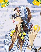 Картина по номерам Девушка с лимонами, цветной холст, 40*50 см, без коробки Barvi