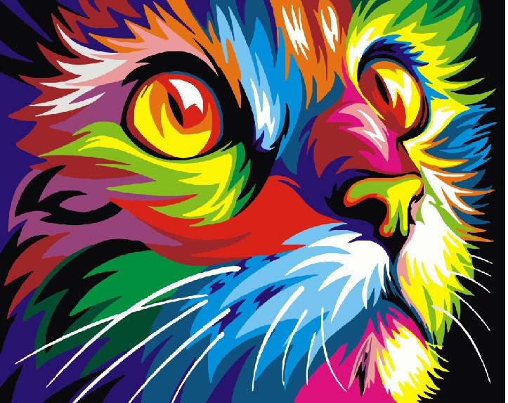 Картина по номерам Радужный кот, цветной холст, 40*50 см, без коробки Barvi