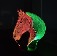 Ночник 3д двухцветный. Конь