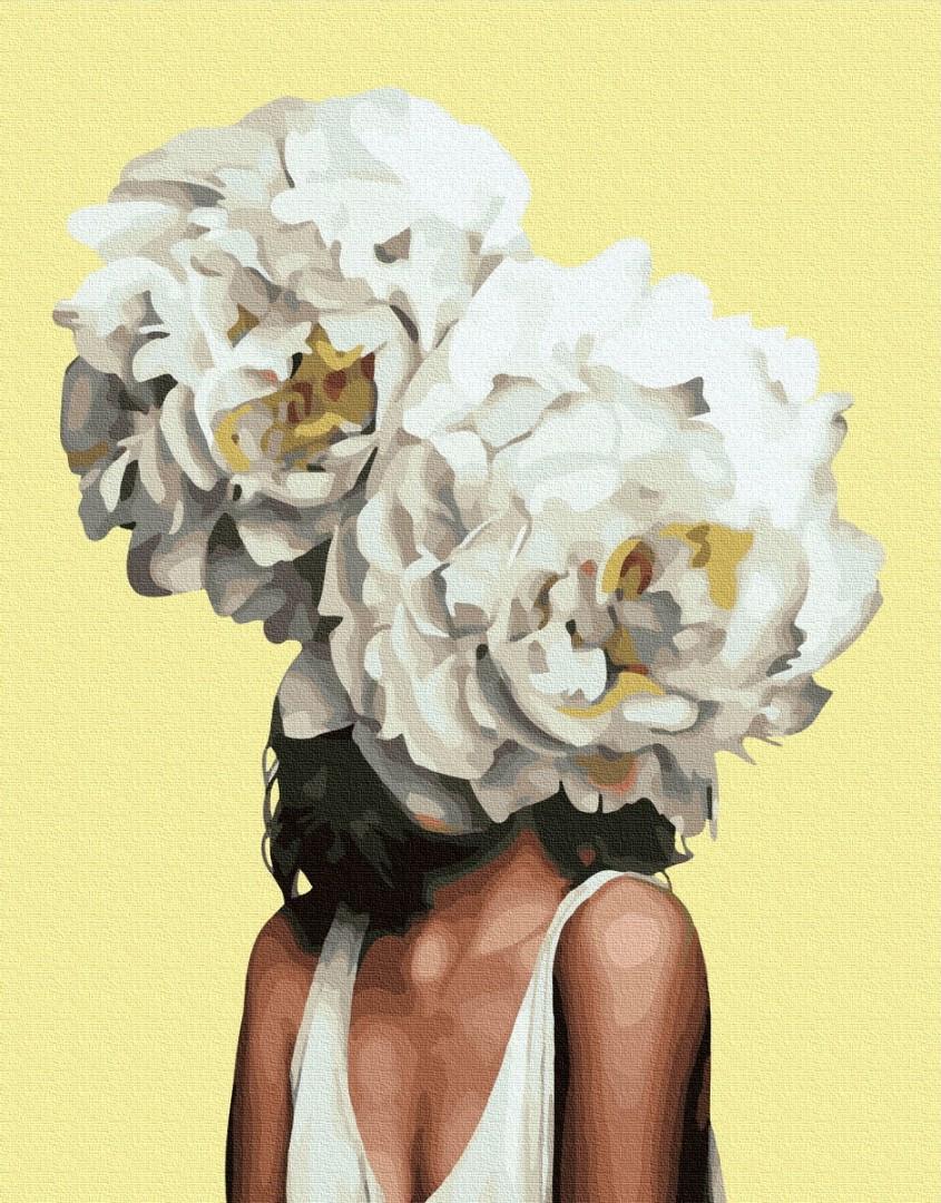 Картина за номерами. Емі Джадд Портрет з півоніями, 40*50 см, Brushme, Преміум, кольоровий полотно, лак в комплекті
