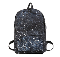 Рюкзак чорний з синім з USB, фото 1