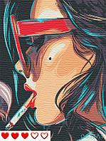 Картина за номерами Дівчина, кольоровий полотно на картоні, 40*50 см, без коробки, ТМ Barvi+ ЛАК