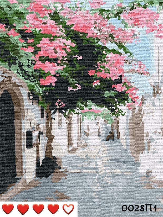 Картина за номерами Вуличками Греції, кольоровий полотно на картоні, 40*50 см, без коробки, ТМ Barvi+ ЛАК