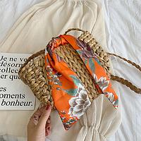 Плетеная сумочка на плечо с лентой, фото 1