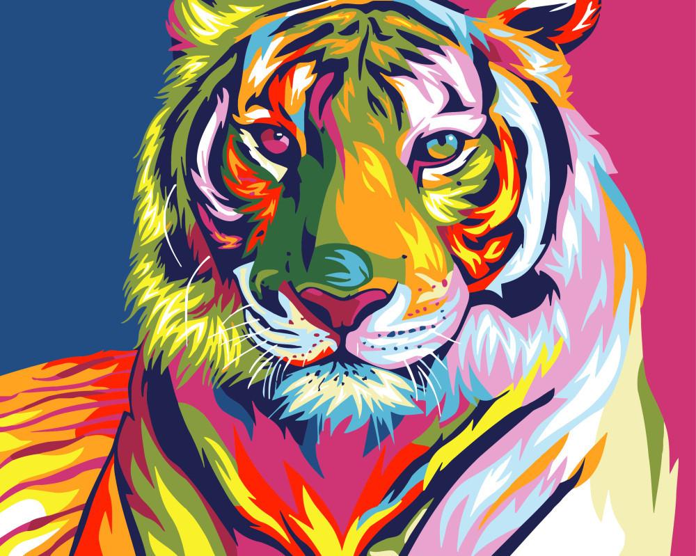Картина по номерам в коробке, 40*50 см, Brushme. Радужный тигр