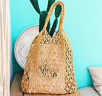 Коричнева плетена сумка