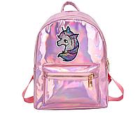 Голограммный рюкзак с единорогом розовый, фото 1