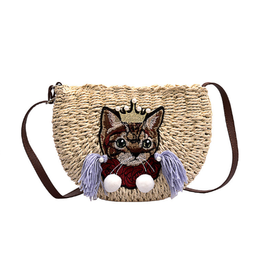 Плетена сумочка на плече з котиком світла