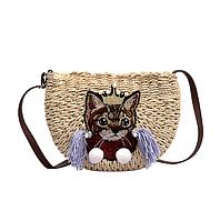 Плетена сумочка на плече з котиком світла, фото 1