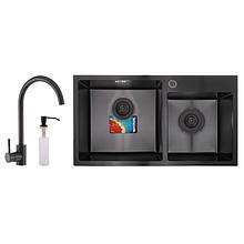 Набір MIXXUS SET-7843D-220x1.0-PVD (мийка+змішувач+диспенсер) (MX0585)