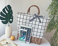 Плетена сумка з ротанга прямокутна в клітку, фото 1