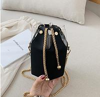 Черная сумка маленькая шестиугольная, фото 1