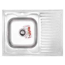 Кухонна мийка накладна ZERIX Z8060L-04-160E (satin) (ZX1618)